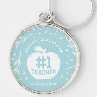 Feiertags-Lehrer Keychain Blau Silberfarbener Runder Schlüsselanhänger