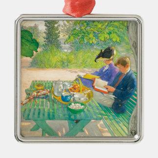 Feiertags-Lesung durch Carl Larsson Silbernes Ornament