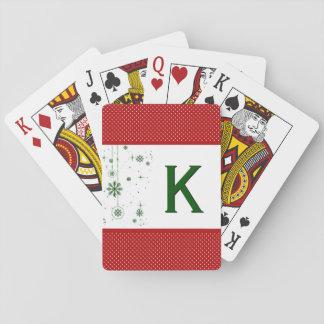 Feiertags-Monogramm-Initialen-klassisches rotes Spielkarten