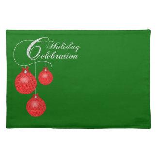 Feiertags-Party, rote Spitze-Verzierungen Tischset
