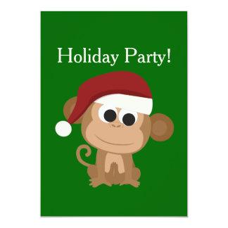 Feiertags-Party! Sankt-Affe 12,7 X 17,8 Cm Einladungskarte