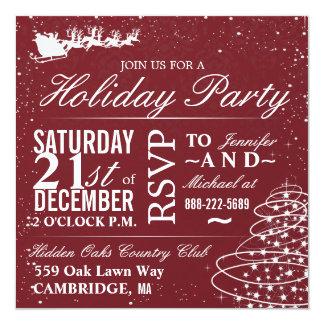 Feiertags-Party-Sanktsleigh-WeihnachtsParty lädt Quadratische 13,3 Cm Einladungskarte