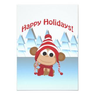 Feiertags-Party! Winter-Affe 12,7 X 17,8 Cm Einladungskarte