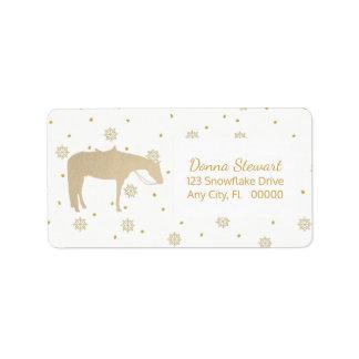 Feiertags-Pergament-Goldweißes Western-Pferd Adressaufkleber
