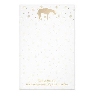 Feiertags-Pergament-Goldweißes Western-Pferd Briefpapier