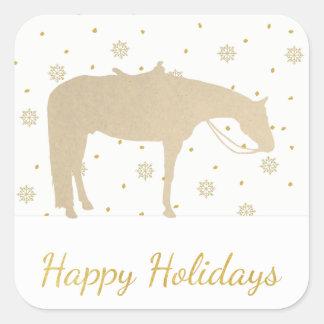 Feiertags-Pergament-Goldweißes Western-Pferd Quadratischer Aufkleber