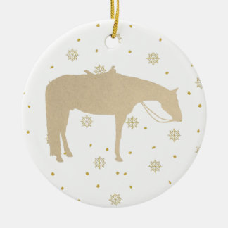 Feiertags-Pergament-Goldweißes Western-Pferd Rundes Keramik Ornament
