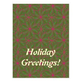 Feiertags-Poinsettia-Muster Postkarte