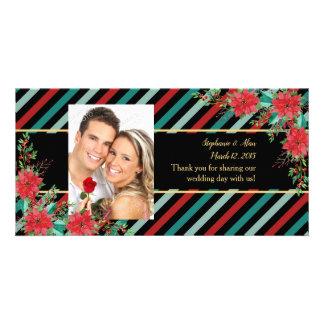 Feiertags-Poinsettia Stripes rotes Grün danken Karte