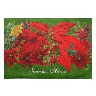 Feiertags-Poinsettia und grüner Name Tischset