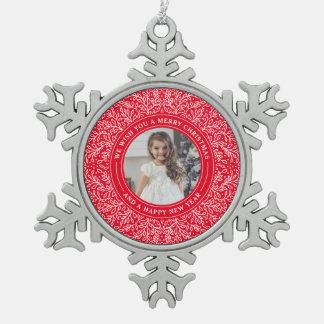 Feiertags-Reben Beeren-in der roten Schneeflocken Zinn-Ornament
