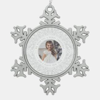 Feiertags-Reben Winter-in der weißen Schneeflocken Zinn-Ornament