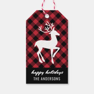Feiertags-Ren | rot und schwarzer Büffel kariert Geschenkanhänger