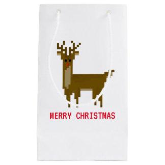 Feiertags-Rudolph-Ren des Gamer-Pixel-8bit Kleine Geschenktüte