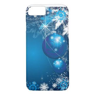 Feiertags-Schneeflocke-Verzierungs-Blau-Baum iPhone 8/7 Hülle