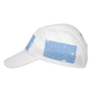 Feiertags-Schneeflocken auf Blau Headsweats Kappe