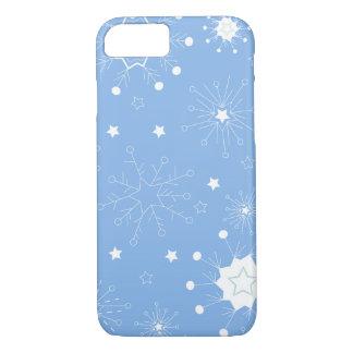 Feiertags-Schneeflocken auf Blau iPhone 8/7 Hülle