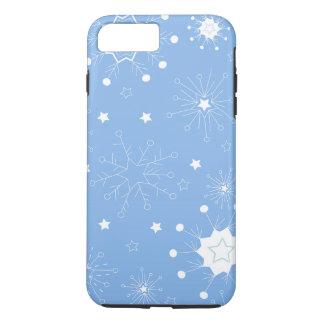 Feiertags-Schneeflocken auf Blau iPhone 8 Plus/7 Plus Hülle