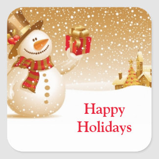 Feiertags-Schneemann-Aufkleber Quadratischer Aufkleber