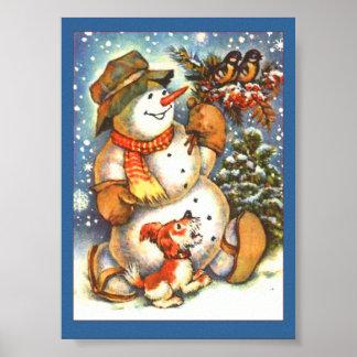 Feiertags-Schneemann Poster