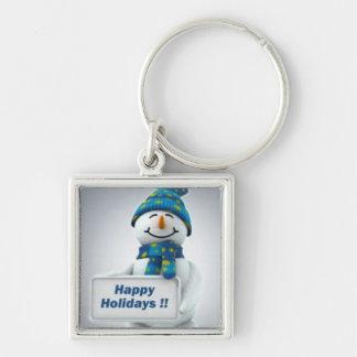 Feiertags-Schneemann Silberfarbener Quadratischer Schlüsselanhänger