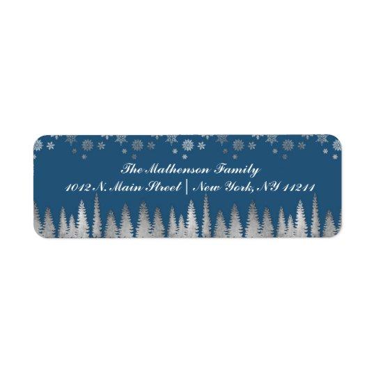 Feiertags-Silber und blaues Winter-Märchenland Rücksende Aufkleber