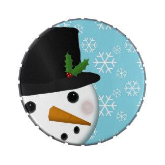 Feiertags-Stechpalmen-Schneemann-Schneeflocke-fest Jelly Belly Dose