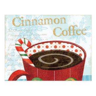 Feiertags-Tasse mit Zimt-Kaffee Postkarten