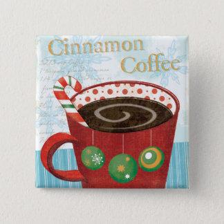 Feiertags-Tasse mit Zimt-Kaffee Quadratischer Button 5,1 Cm