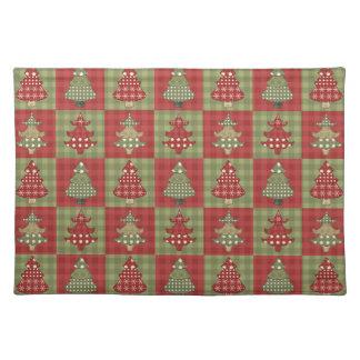 Feiertags-traditionelles Weihnachtsbaum-Muster Stofftischset
