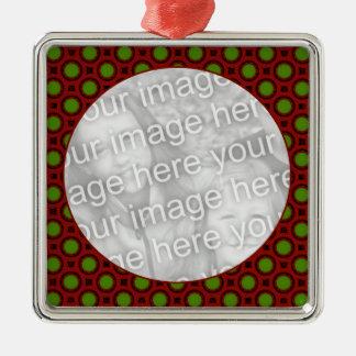 Feiertags-Tupfen Quadratisches Silberfarbenes Ornament