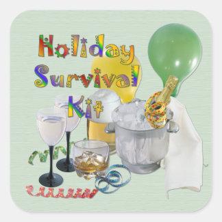 Feiertags-Überlebensausrüstung Quadrat-Aufkleber