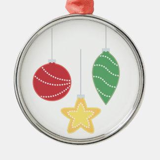 Feiertags-Verzierungen Rundes Silberfarbenes Ornament