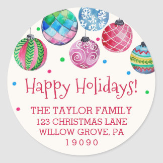 Feiertags-Verzierungs-WeihnachtsRücksendeadresse Runder Aufkleber