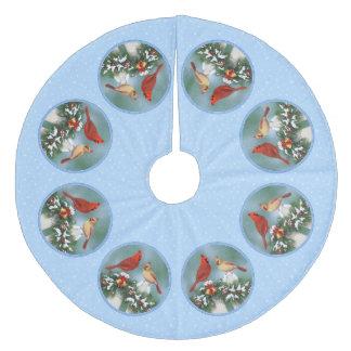 Feiertags-Vögel u. Weihnachtsgirlande Fleece Weihnachtsbaumdecke
