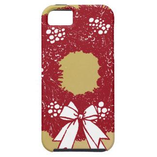 Feiertags-WeihnachtsKranz-Rot und Gold iPhone 5 Etui