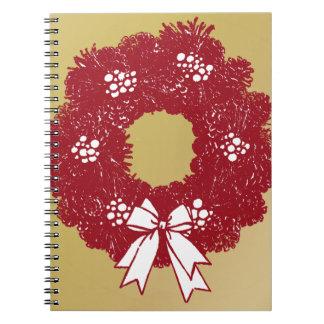 Feiertags-WeihnachtsKranz-Rot und Gold Notizblock