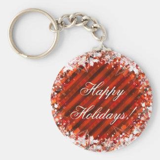 Feiertags-Weihnachtsrot Keychain Standard Runder Schlüsselanhänger