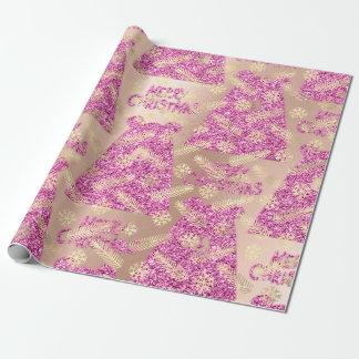 Feiertags-Weihnachtsschneeflocke-Goldrosa-Bär Geschenkpapier