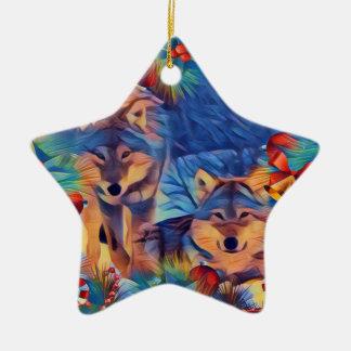 Feiertags-Wölfe Keramik Ornament