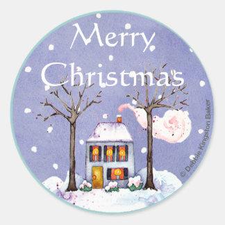 Feiertags-Zuhause der frohen Weihnachten Runder Aufkleber