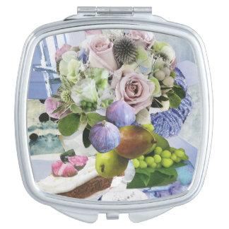 Feigen-, Blumen- und Birnen-kompakter Spiegel Schminkspiegel