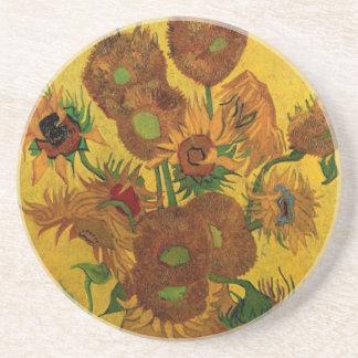 Feine Kunst-Blumen Van Gogh, Vase mit 15 Untersetzer