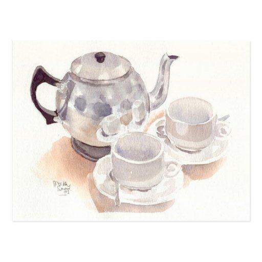 Feine Kunst-Postkarten-Tee-Set, Wasserfarbe