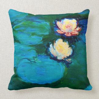 Feine Kunst zwei Wasser-Lilien-Blumen-Claudes Kissen