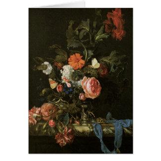 Feine mit Blumenkunst mit Rosen Grußkarte