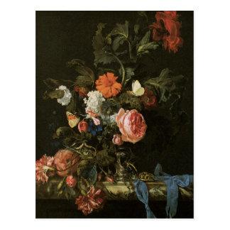 Feine mit Blumenkunst mit Rosen-Postkarte