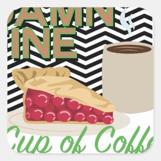 Feiner Kaffee u. Torte Quadratischer Aufkleber
