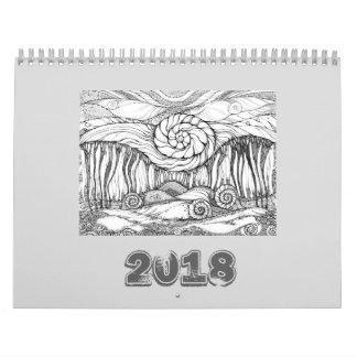 Feinlinienkunst des Kalender-2018 Wandkalender