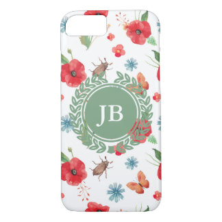 Feld-Blumen-Monogramm-Muster (Customizeable) iPhone 8/7 Hülle